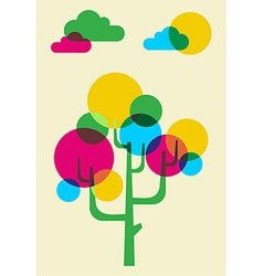 Mulicolored cactus tree made with bubbles vector