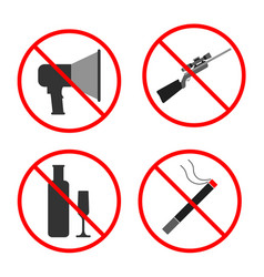 no noise gun alcohol smoke sign and symbol vector image