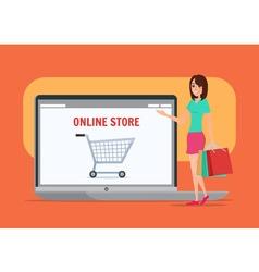 Online shopping girl business cartoon concept vector