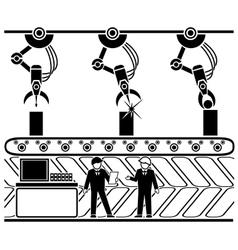 Robotic production conveyor line vector image vector image