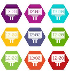Scoreboard icon set color hexahedron vector
