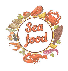 Seafood restaurant menu design with fish crab vector