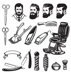 set of barbershop design elements scissors vector image vector image