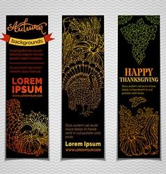 set of dark Thanksgiving vertical banners vector image