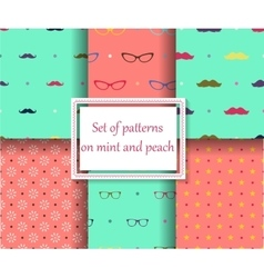 set of seamless patterns on mint and peach colors vector image