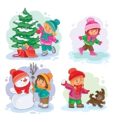 Set winter icons with little children vector image vector image