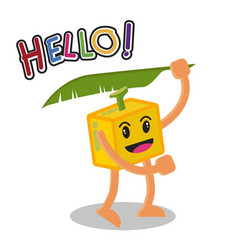 Smiling banana fruit cartoon mascot character vector