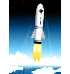 Space tourist rocket blasting off at the launch vector