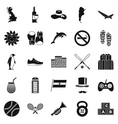 sport games icons set simple style vector image