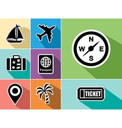 Travel abroad flat icons set design vector