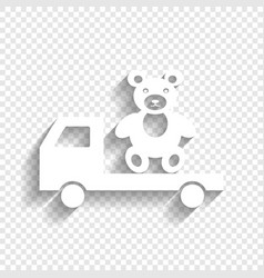 Truck with bear white icon with soft vector