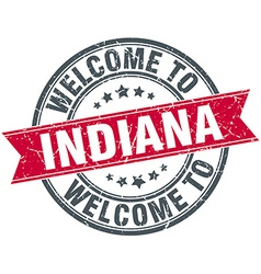 Welcome to indiana red round vintage stamp vector