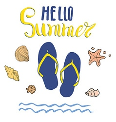 Summer flip flops and lettering isolated vector
