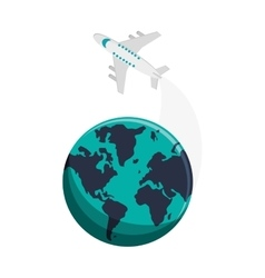 Earth globe and airplane icon vector