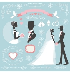 Wedding winter decor setbbride and groomvintage vector