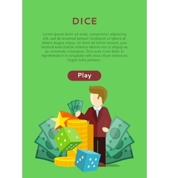 Dice casino banner online play concept vector
