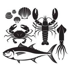 Seafood silhouette set lobster prawn crab tuna vector