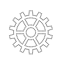 Gear sign black dashed icon on white vector