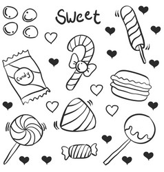 hand draw of candy various doodles vector image