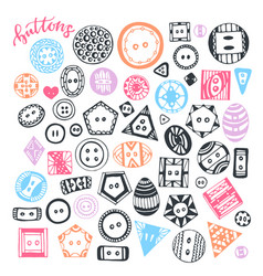 Buttons hand drawn isolated set handmade vector