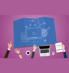 Video marketing concept with monitor vector