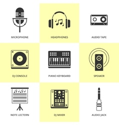Set of black music and sound icons vector