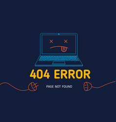 404 error page not found line notebook vector image vector image
