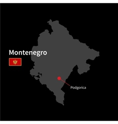 Detailed map of montenegro and capital city vector
