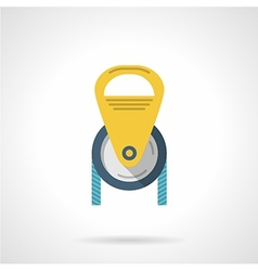 Color pulley flat icon vector