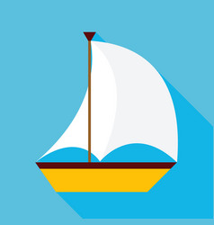 Flat sailing ship with long shadow vector