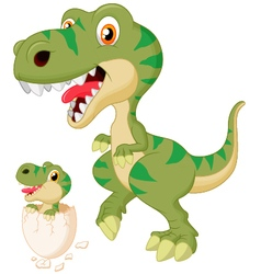 Mother and baby dinosaur hatching vector