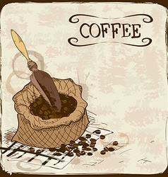 with coffee beans bag and scoop vector image