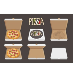 The whole pizza in the opened and closed cardboard vector image