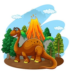 Dinosaur living in the jungle vector