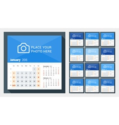 Desk calendar for 2016 year week starts sunday 3 vector