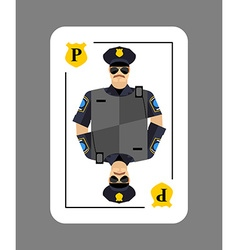 Playing card policeman conceptual new card police vector
