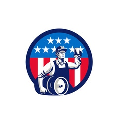 American builder beer keg flag circle retro vector