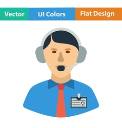 Flat design icon of football commentator vector