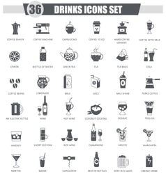 Drinks black icon set dark grey classic vector