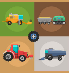 agricultural vehicles cards harvester machine vector image vector image
