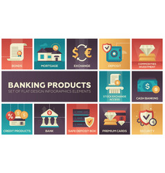 Banking products - set of flat design infographics vector