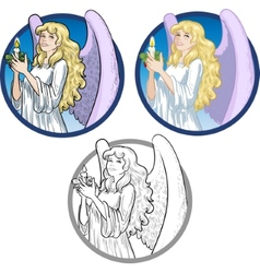 Beautiful Caucasian female angel with candle vector image vector image