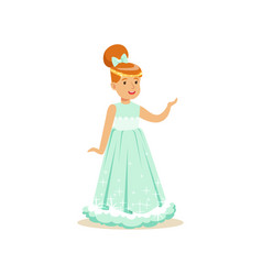 Beautifull redhead little girl princess in a light vector