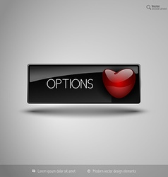 Black business button with red heart design vector