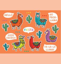 decorative llama alpaca set colorful vector image vector image