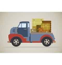 Delivery truck with parcels vector