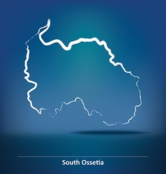 Doodle Map of South Ossetia vector image vector image