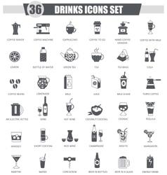 Drinks black icon set Dark grey classic vector image vector image