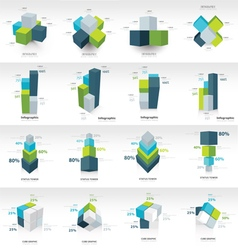 Geometry cube infographic template vector