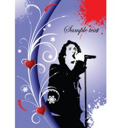 greeting card with singer image vector image vector image